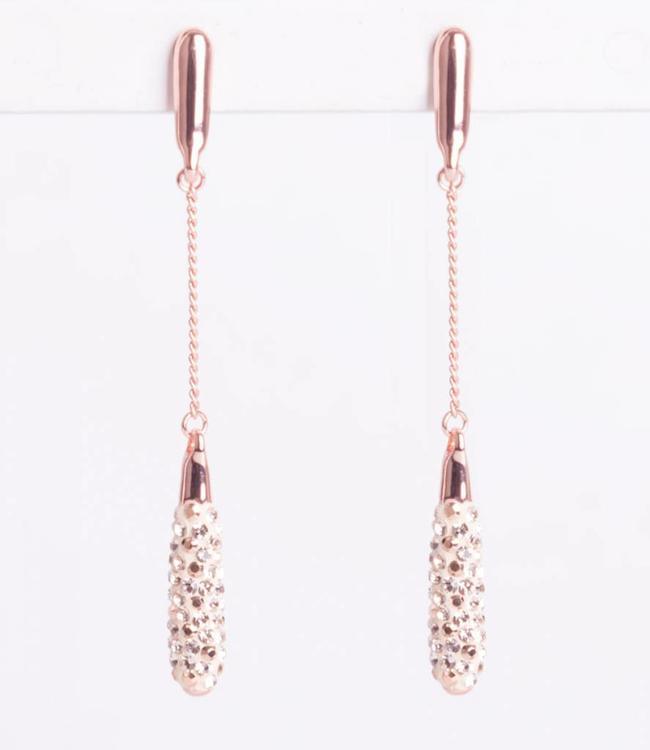 Phantasya Oorbel Crystal Long Drop Rosegold
