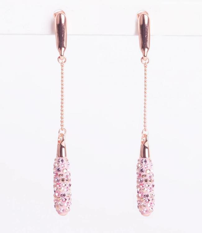 Phantasya Oorbel Crystal Long Drop Pink