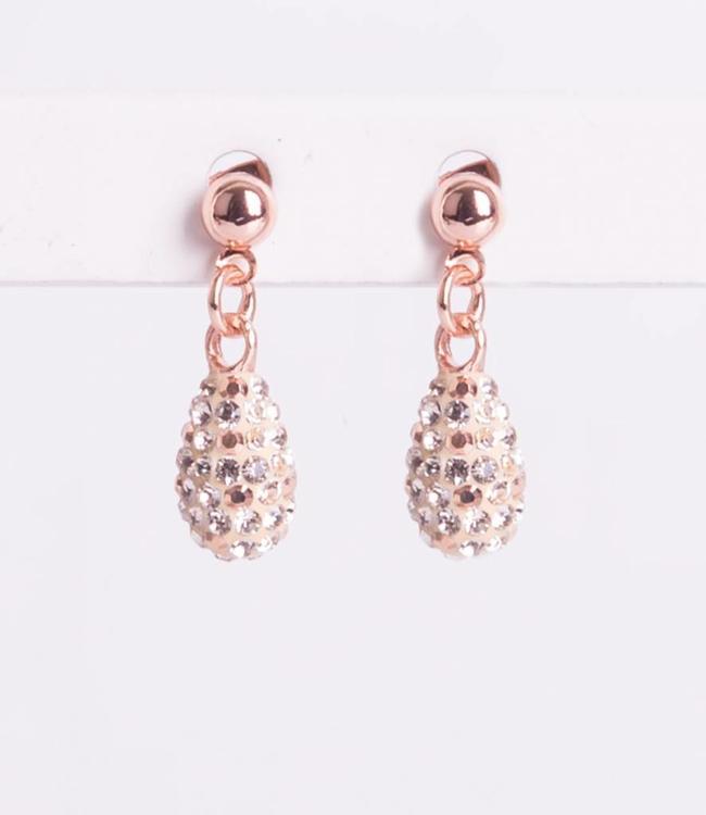 Phantasya Oorbel Drop Short Crystal Rosegold
