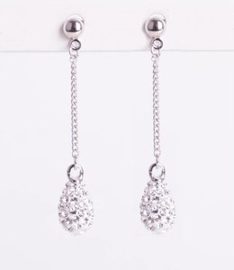 Phantasya Oorbel Crystal Drop Stud White