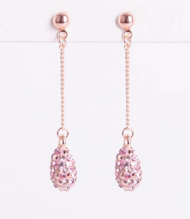 Phantasya Oorbel Crystal Drop Stud Pink