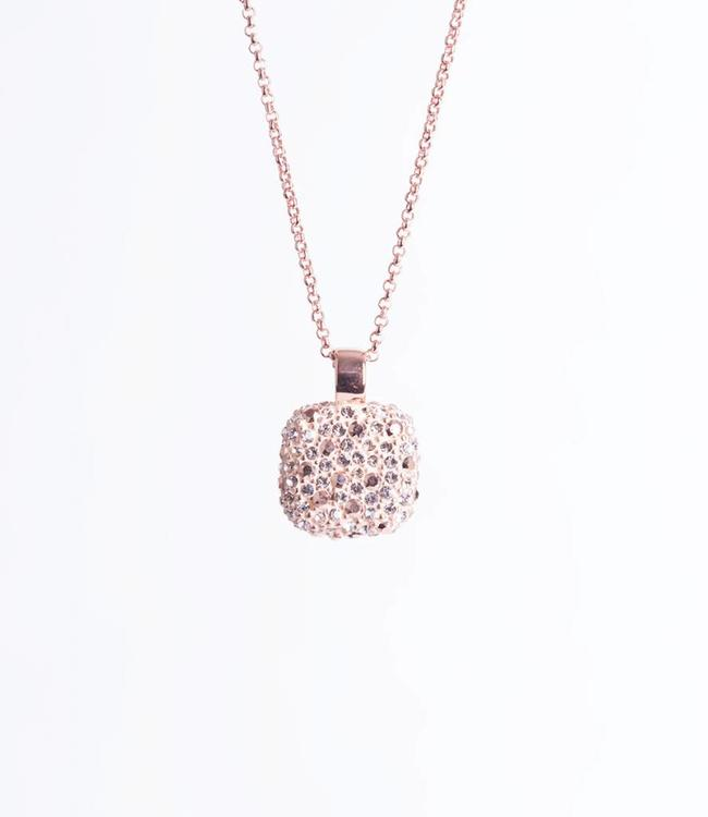 Phantasya Halsketting Crystal Square Rosegold