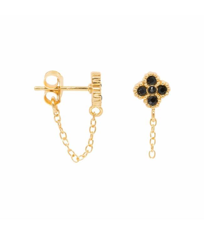 Eline Rosina Cosmic black zirconia chain oorbel goud