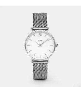 Cluse Uurwerk Minuit Mesh Silver/White