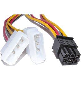 Overig 2x molex male naar 6 pin female PCI-E 10 cm lang