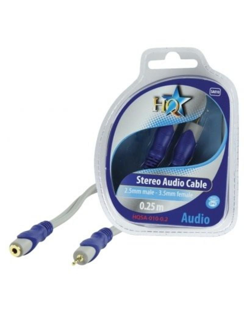 HQ HQ Stereo 2.5 mm (M) 3.5 mm (F) audio kabel 0,25 meter