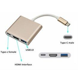 USB C naar USB C, HDMI en USB 3.0 hub Goud