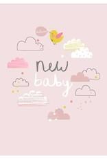 Petite Louise ALESS BAYLIS KAART 'NEW BABY' WOLKJES / ROZE