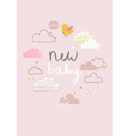 Petite Louise ALESS BAYLIS KAART 'NEW BABY' WOLKJES / ROZE