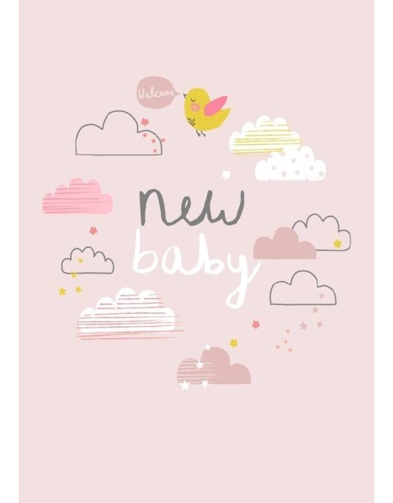 ALESS BAYLIS KAART 'NEW BABY' WOLKJES / ROZE