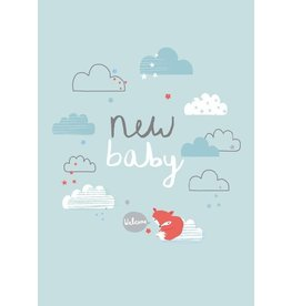 Petite Louise ALESS BAYLIS KAART 'NEW BABY' WOLKJES / BLAUW