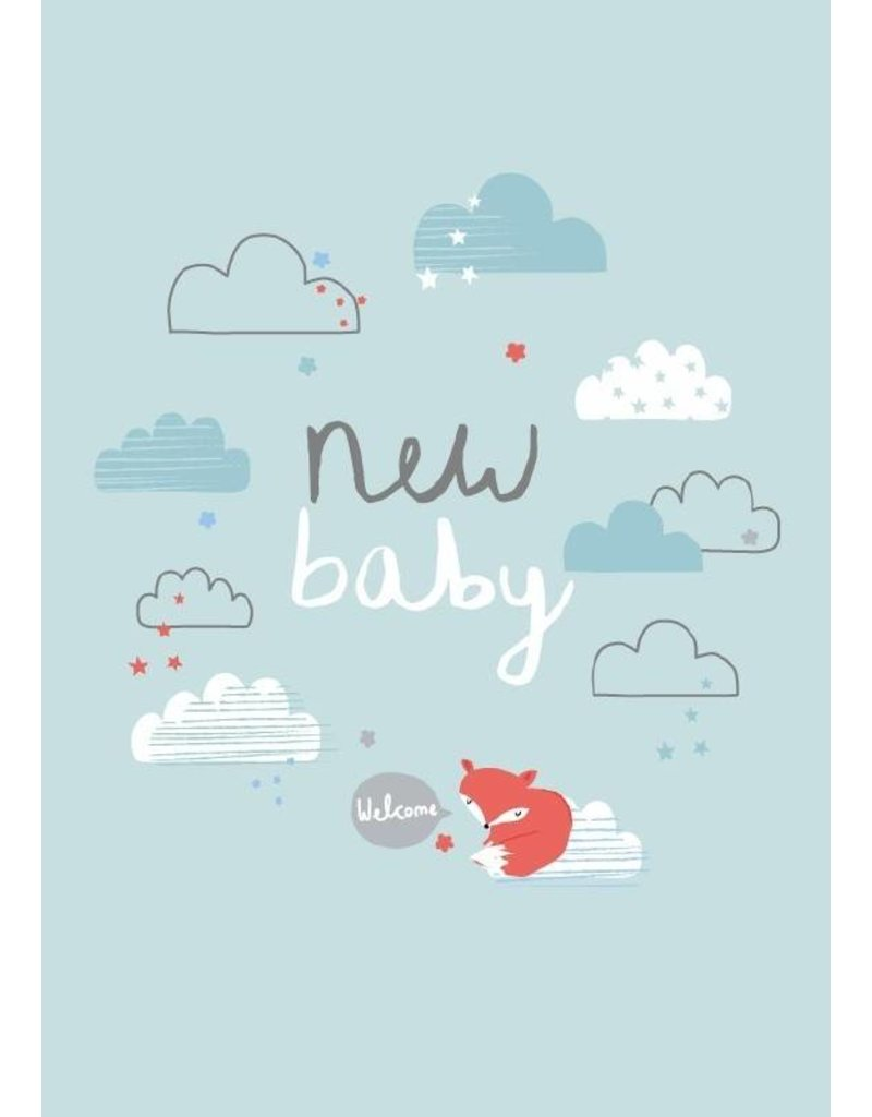 ALESS BAYLIS KAART 'NEW BABY' WOLKJES / BLAUW