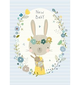 NIKKI UPSHER KAART 'NEW BABY' BLAUW