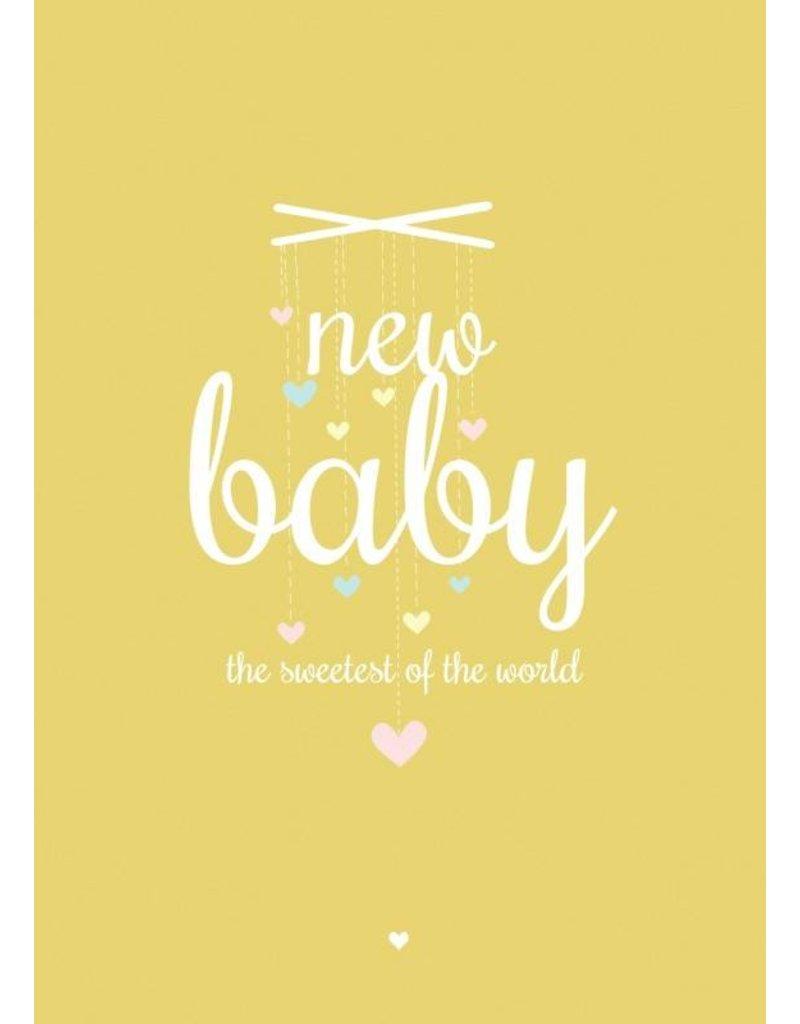 PETITE LOUISE KAART 'NEW BABY' GEEL