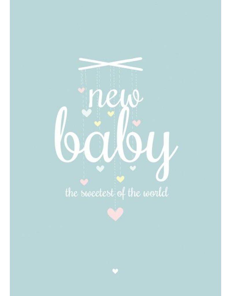 PETITE LOUISE KAART 'NEW BABY' BLAUW/GROEN
