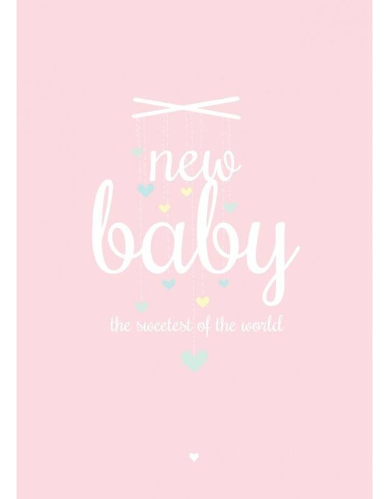 PETIT LOUISE KAART 'NEW BABY' ROZE