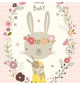 NIKKI UPSHER KAART 'NEW BABY' ROZE