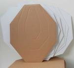 Double-Alpha Pack of 100 60% sized AIPSC cardboard targets. Brown fronts with Alpha, Charlie and Delta rings, and a white backing for use as a no-shoot.