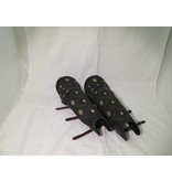 Lamellar Soft Leather Greaves with Diamond Pattern and studded.