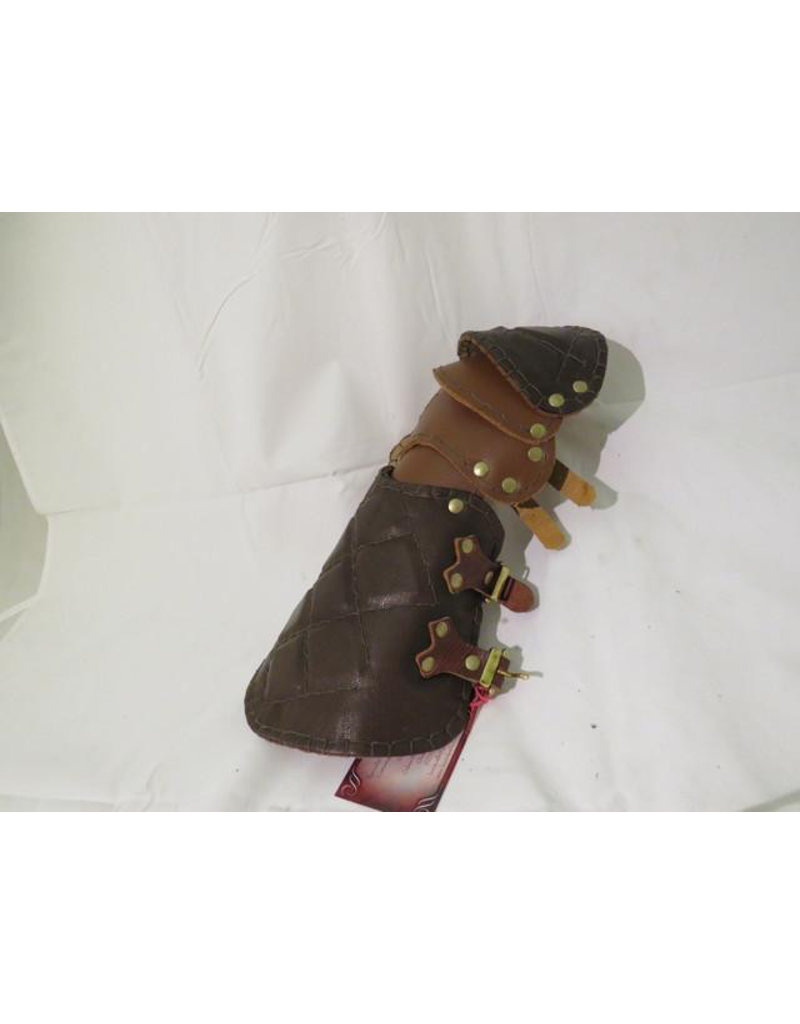 Lamellar Brown Leather Gauntlet