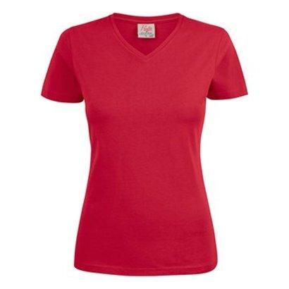 Geocaching v-neck t-shirt dames rood