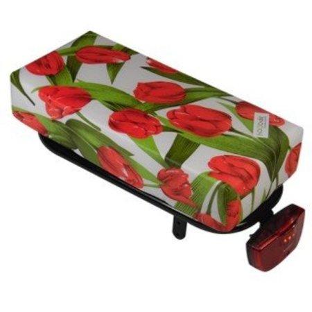 Hooodie Big Cushie Tulips Red - zacht en fleurig dik fietskussen voor op bagagedrager