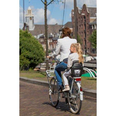 Qibbel 6+ Junior seat Zwart - compleet met voetsteunen, gordel en bagagedragerbevestiging