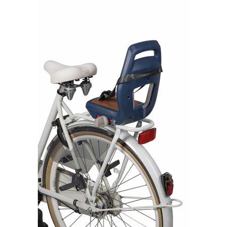 Qibbel 6+ Junior seat Blauw-bruin - compleet met voetsteunen, gordel en bagagedragerbevestiging