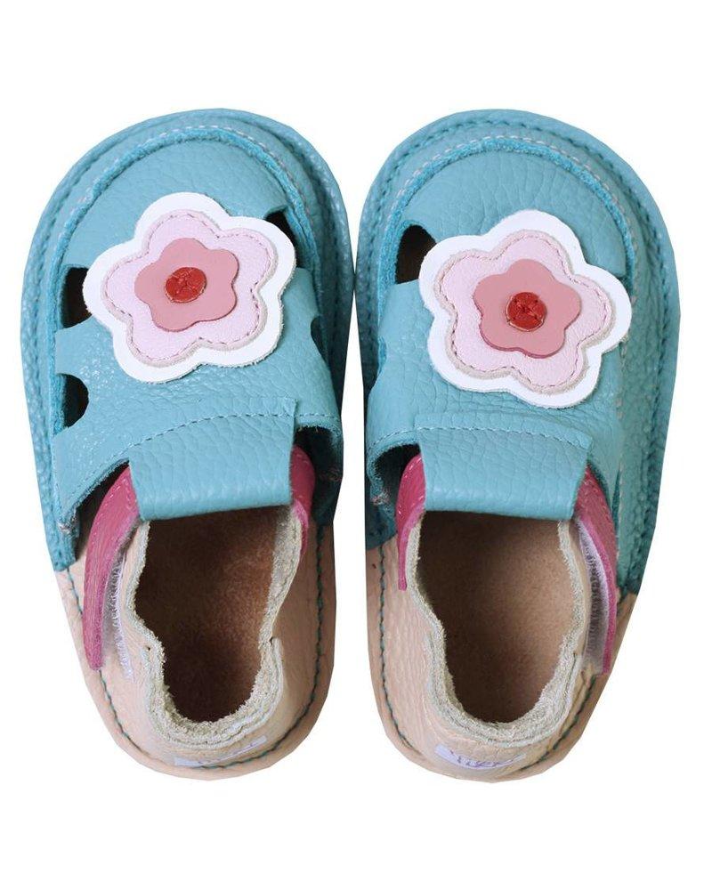 Tikki Sandaal Cherry Blossom, lichtblauw/roze met bloem