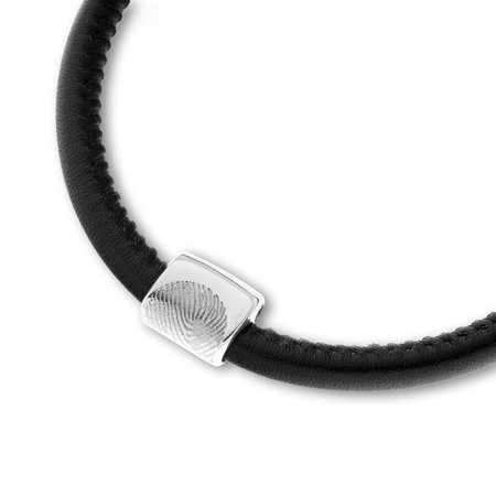 Bracelet leather/neopreen incl. reservoir for ashes, with fingerprint and magnetic lock