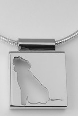 Square pendant, open profile with edge and wide eye