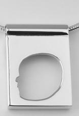Rechthoekige hanger, open met rand en breed oog