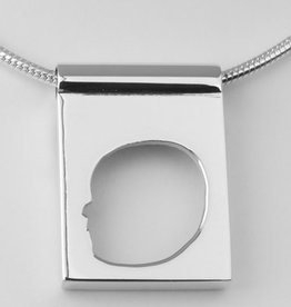 Rectangular pendant, open profile with edge and wide eye