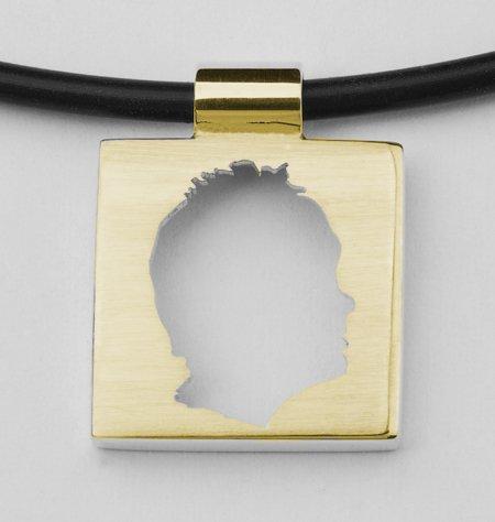 Small square pendant, open profile with edge