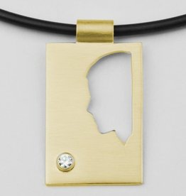 Rectangular pendant, plate, half profile with zirconia 2,6 mm.