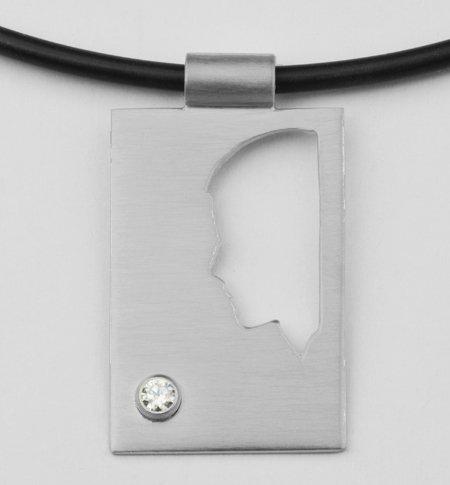 Rechthoekige hanger, open, plaat, met zirconia 2,6 mm.