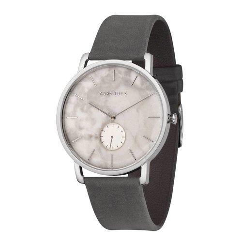 Kerbholz Fritz White Marble/Asphalt Horloge