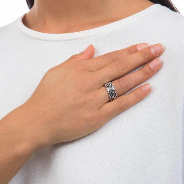 Chain Texture zilveren ring (788)