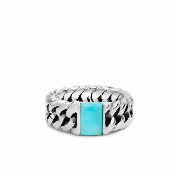 Chain Stone Turquoise zilveren ring (603TQ)