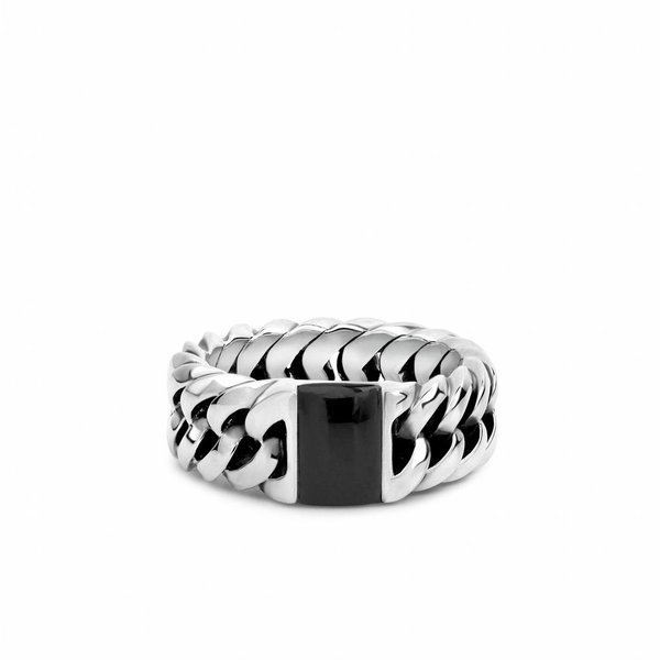 Chain Stone Onyx zilveren ring (603ON)