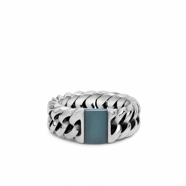 Chain Stone Green zilveren ring (603GR)