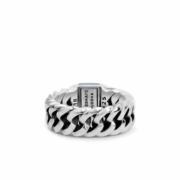 Chain Stone Blue zilveren ring (603BA)