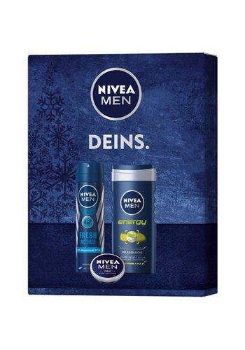 "Nivea Men ""fresh set"" deospray fresh + Gel douche + Creme"