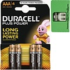 Duracell Duracell Batterijen plus alkaline micro aaa 4stuks