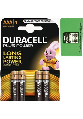 Duracell Duracell Batteries plus power micro alcalin aaa 4 pièces