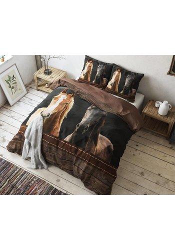 Sleeptime Dekbedovertrek Horses Brown