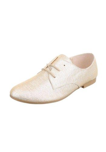 Dames veterschoenen - rosé goud