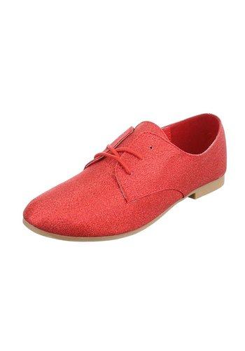 Dames veterschoenen - rood