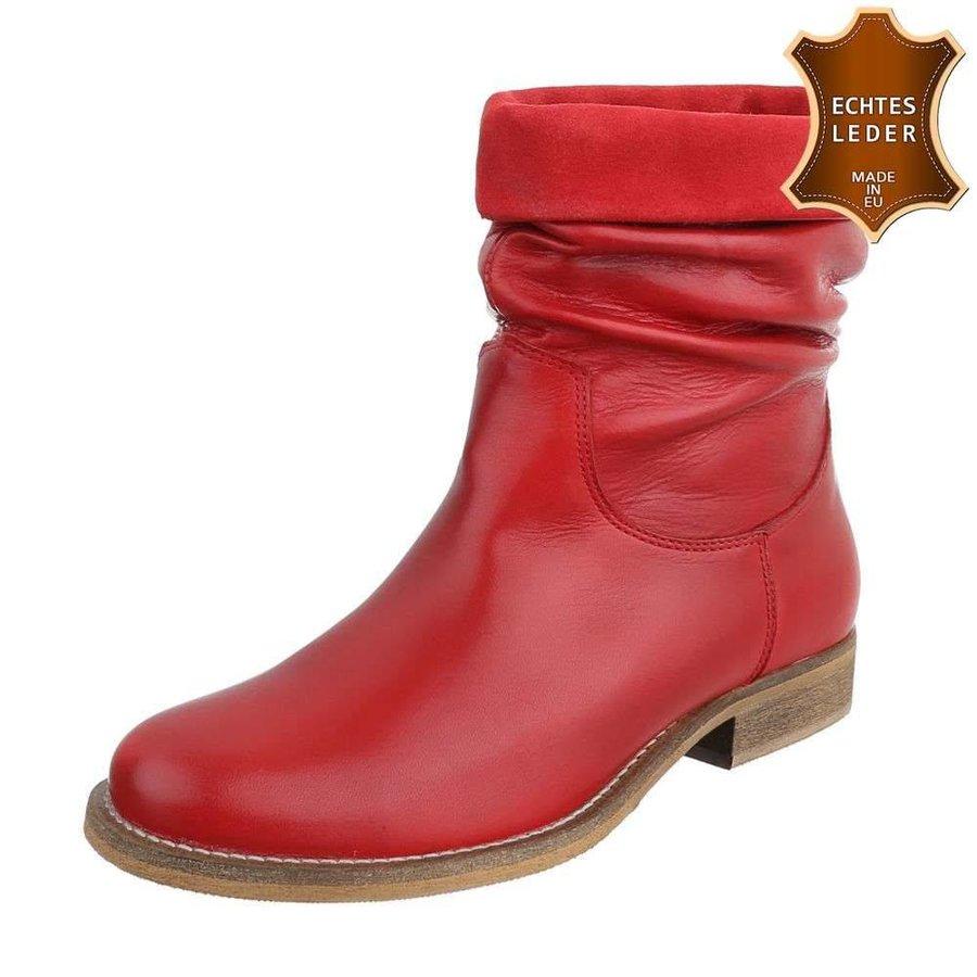 Damen Leder Stiefeletten - red