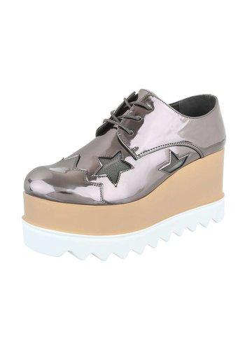 Dames veterschoenen - metallic